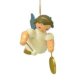 Christbaumschmuck Engel mit kleinem Gong - Blaue Flügel - schwebend - 5,5 cm