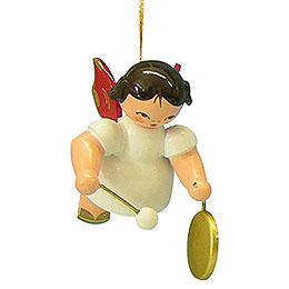 Christbaumschmuck Engel mit kleinem Gong - Rote Flügel - schwebend - 5,5 cm