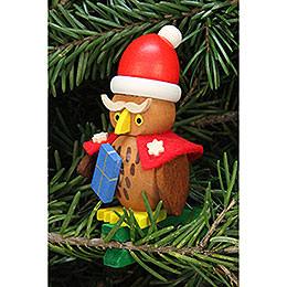 Christbaumschmuck Eule Weihnachtsmann auf Klammer - 4,8x7,3 cm