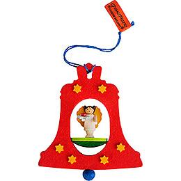 Christbaumschmuck Glocke rot mit Engel - 7,5 cm