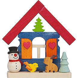 Christbaumschmuck Haus Schneemann mit Tieren - 7,4 cm