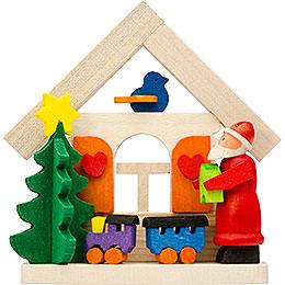Christbaumschmuck Haus Weihnachtsmann mit Eisenbahn - 7,5 cm