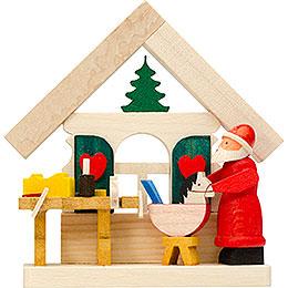 Christbaumschmuck Haus Weihnachtsmann mit Werkstatt - 7,5 cm