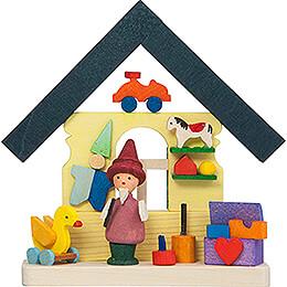 Christbaumschmuck Haus Zwerg mit Spielzeug - 7,4 cm