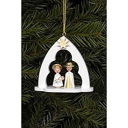 Christbaumschmuck Heilige Familie im Bogen weiss - 6,5x6,2 cm