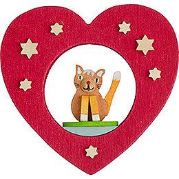 Christbaumschmuck Herz mit Katze - 7 cm