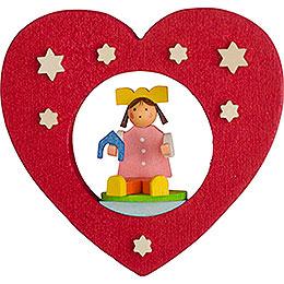 Christbaumschmuck Herz mit Puppe - 7 cm