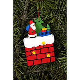 Christbaumschmuck Kamin mit Weihnachtsmann - 4,8x7,6 cm