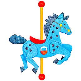Christbaumschmuck Karussellpferd blau-dunkelblau - 9,5 cm