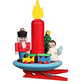 Christbaumschmuck Kerze mit Engel auf Klammer - 6x8,5 cm
