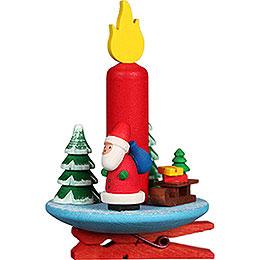 Christbaumschmuck Kerze mit Weihnachsmann auf Klammer - 6x8,5 cm