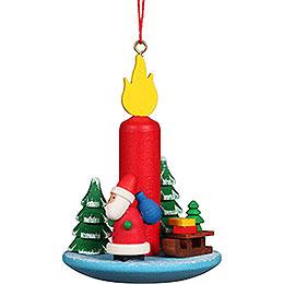Christbaumschmuck Kerze mit Weihnachtsmann - 5,4x7,4 cm