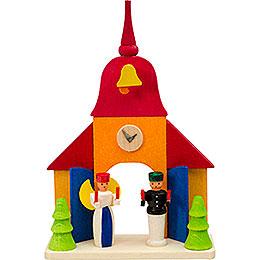 Christbaumschmuck Kirche mit Engel und Bergmann - 9 cm