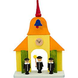 Christbaumschmuck Kirche mit Kurrende - 9 cm