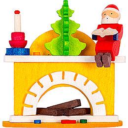 Christbaumschmuck Kleiner Kamin mit Weihnachtsmann - 6 cm