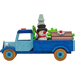 Christbaumschmuck Lastwagen Schneemann mit Baum - 7,5 cm