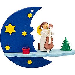 Christbaumschmuck Mond-Wolke-Engel mit Cello - 8 cm