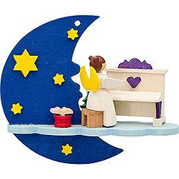 Christbaumschmuck Mond-Wolke-Engel mit Klavier - 7 cm