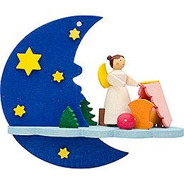 Christbaumschmuck Mond-Wolke-Engel mit Wiege - 8 cm