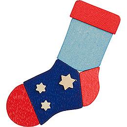 Christbaumschmuck Niklasstrumpf blau-rot mit Sternen - 7,9 cm