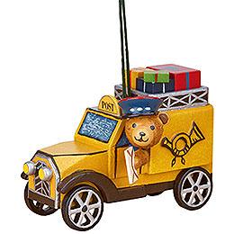 Christbaumschmuck Postauto mit Teddy - 8 cm