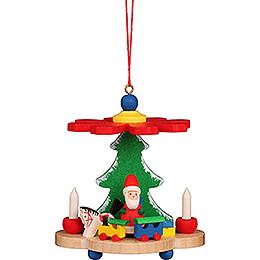 Christbaumschmuck Pyramide mit Weihnachtsmann - 7,5 cm