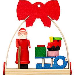 Christbaumschmuck Schleife Weihnachtsmann mit Schlitten - 7 cm