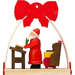 Christbaumschmuck Schleife Weihnachtsmann mit Wunschzetteln - 7 cm