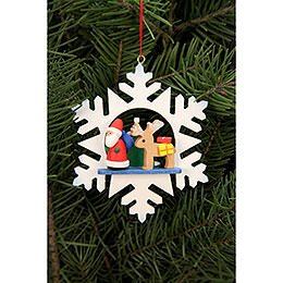 Christbaumschmuck Schneeflocke Weihnachtsmann mit Rentier - 9,0x9,0 cm