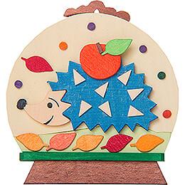 Christbaumschmuck Schneekugel mit Igel - 7,6 cm