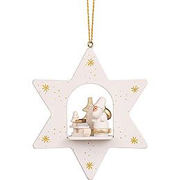 Christbaumschmuck Stern weiß Weihnachtsmann mit Schlitten - 9,6 cm