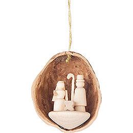 Christbaumschmuck Walnussschale mit Christi Geburt - 4,5 cm