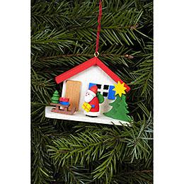 Christbaumschmuck Weihnachtsmann am Haus - 7,0x5,0 cm