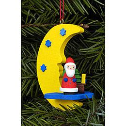 Christbaumschmuck Weihnachtsmann am Mond - 4,5x6,3 cm