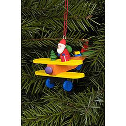 Christbaumschmuck Weihnachtsmann auf Flieger - 6,8x4,8 cm