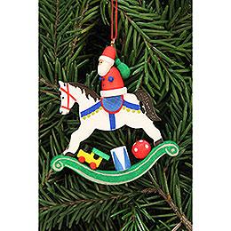 Christbaumschmuck Weihnachtsmann auf Schaukelpferd - 6,8x7,1 cm