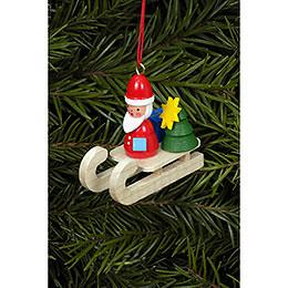 Christbaumschmuck Weihnachtsmann auf Schlitten - 4,7x4,3 cm