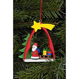 Christbaumschmuck Weihnachtsmann im Bogen - 7,4x6,3 cm