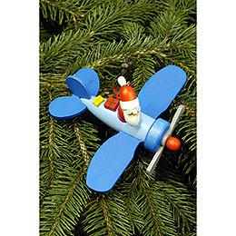 Christbaumschmuck Weihnachtsmann im Flieger - 10,0x5,0 cm