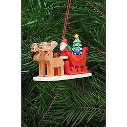 Christbaumschmuck Weihnachtsmann im Rentierschlitten - 9,7 cm