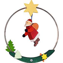 Christbaumschmuck Weihnachtsmann im Ring - 8 cm