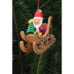 Christbaumschmuck Weihnachtsmann im Schlitten - 7,5x7,1 cm