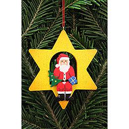 Christbaumschmuck Weihnachtsmann im Stern - 9,5x9,5 cm
