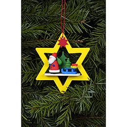 Christbaumschmuck Weihnachtsmann im gelben Stern - 6,8x7,8 cm