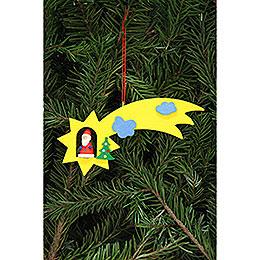Christbaumschmuck Weihnachtsmann in Sternschnuppe - 12,9x5,2 cm