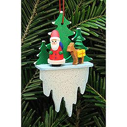 Christbaumschmuck Weihnachtsmann mit Bambi auf Eiszapfen - 5,5x8,8 cm