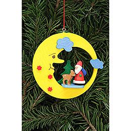 Christbaumschmuck Weihnachtsmann mit Bambi im Mond - 8,3x7,9 cm