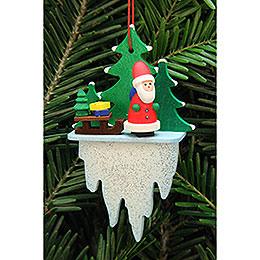 Christbaumschmuck Weihnachtsmann mit Schlitten auf Eiszapfen - 5,5x8,8 cm