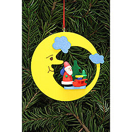 Christbaumschmuck Weihnachtsmann mit Schlitten im Mond - 8,3x7,9 cm