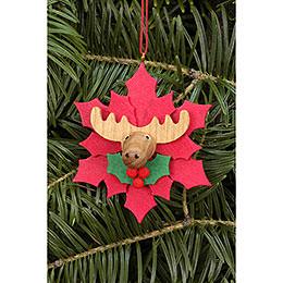 Christbaumschmuck Weihnachtsstern mit Elch - 6,5x6,5 cm